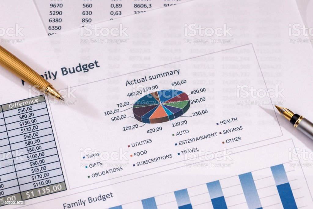 financial analysis with graphs pen annual budget stock photo more