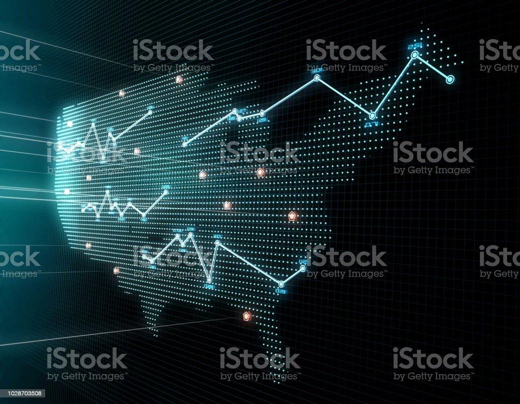 3D composite illustrations, representing financial data charts, stock...