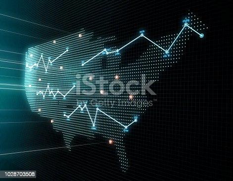 istock Financial and economic stock market data charts, economic development and upgrading, index growth, data indicators,usa map 1028703508