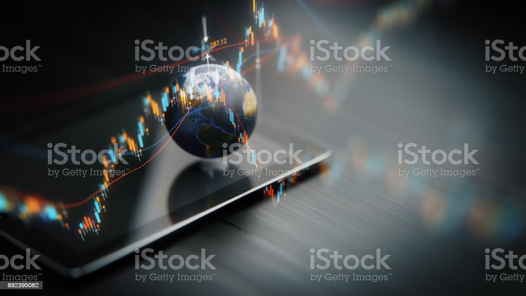 Financial data analysis graph showing global market trends on a...