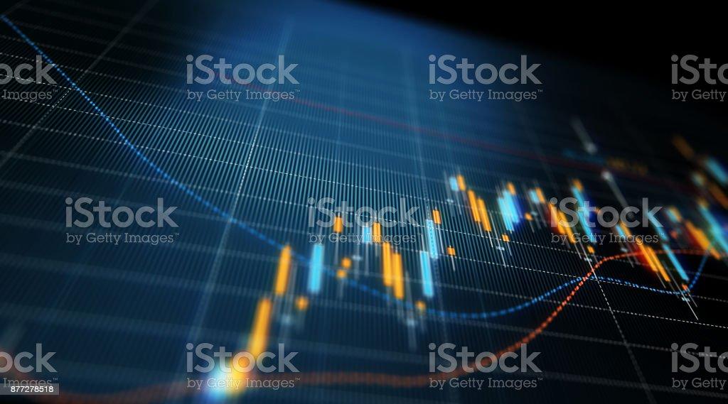 Gráfico del análisis de datos financieros y técnicos que muestra resultados de búsqueda - foto de stock