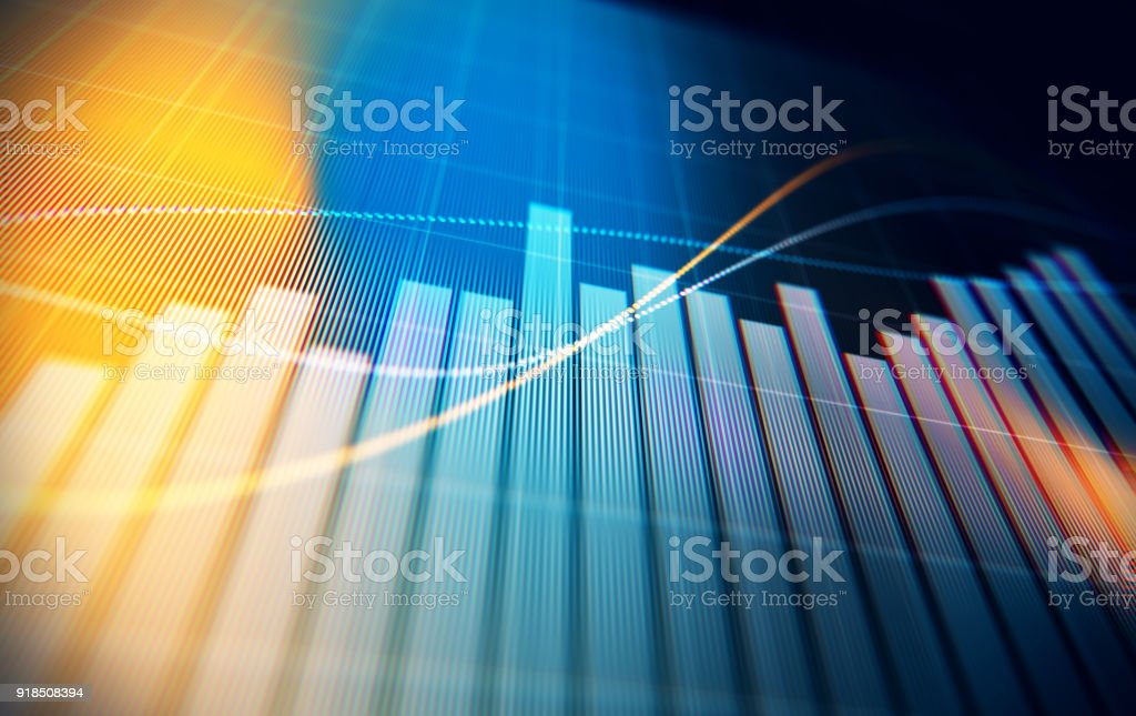 Gráfico del análisis de datos financieros y técnicos que muestra resultados de búsqueda - Foto de stock de Ahorros libre de derechos
