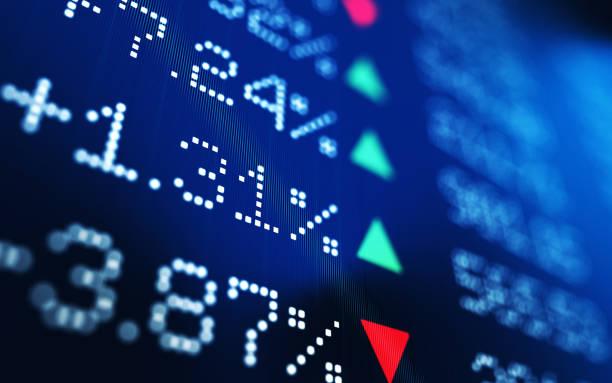 finanzielle und technische daten-analyse-diagramm, stock markttrends - kurstafel stock-fotos und bilder