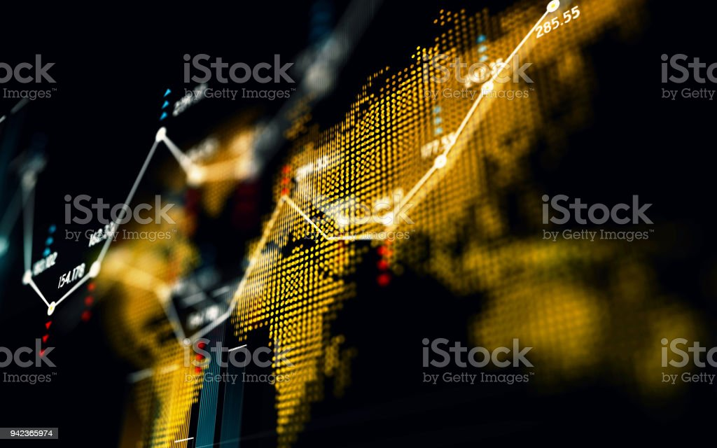 Financial and Technical Data Graph Over World Map foto stock royalty-free