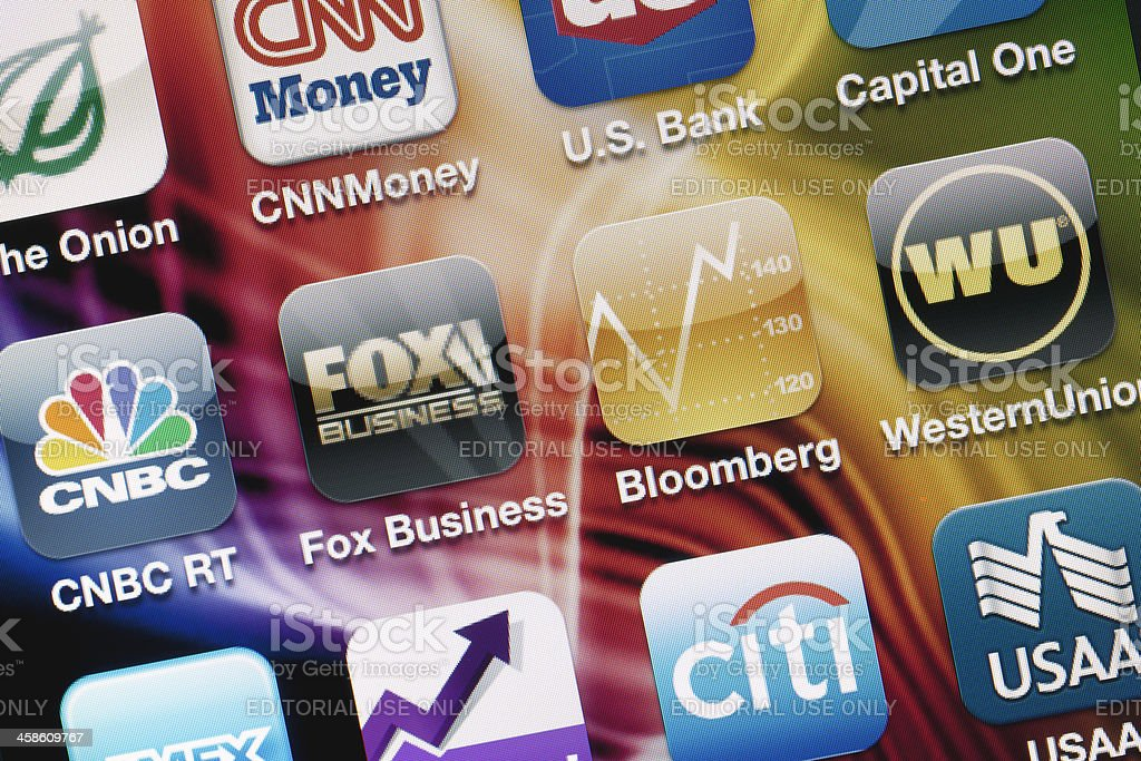 Financial Applications on iPhone screen stock photo