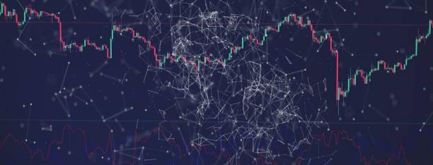 Çizgilerle finansal arka plan. Profesyonel ticaret şeması, piyasa analizi. Cryptomania stok fotoğrafı