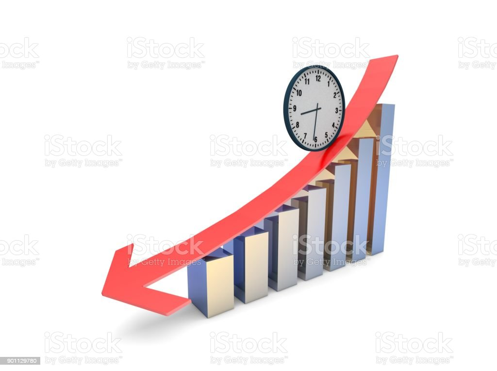 Financial bankruptcy, failure arrow and histogram, time stock photo