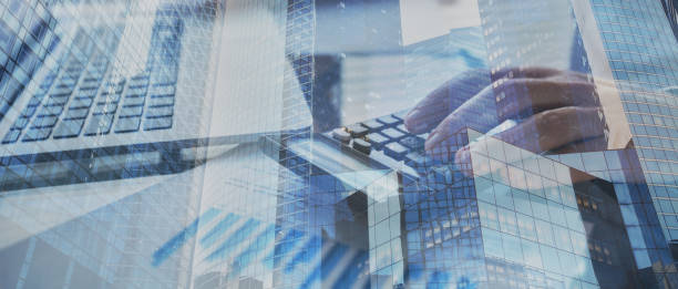financial banner background for business, finance and investment stock photo