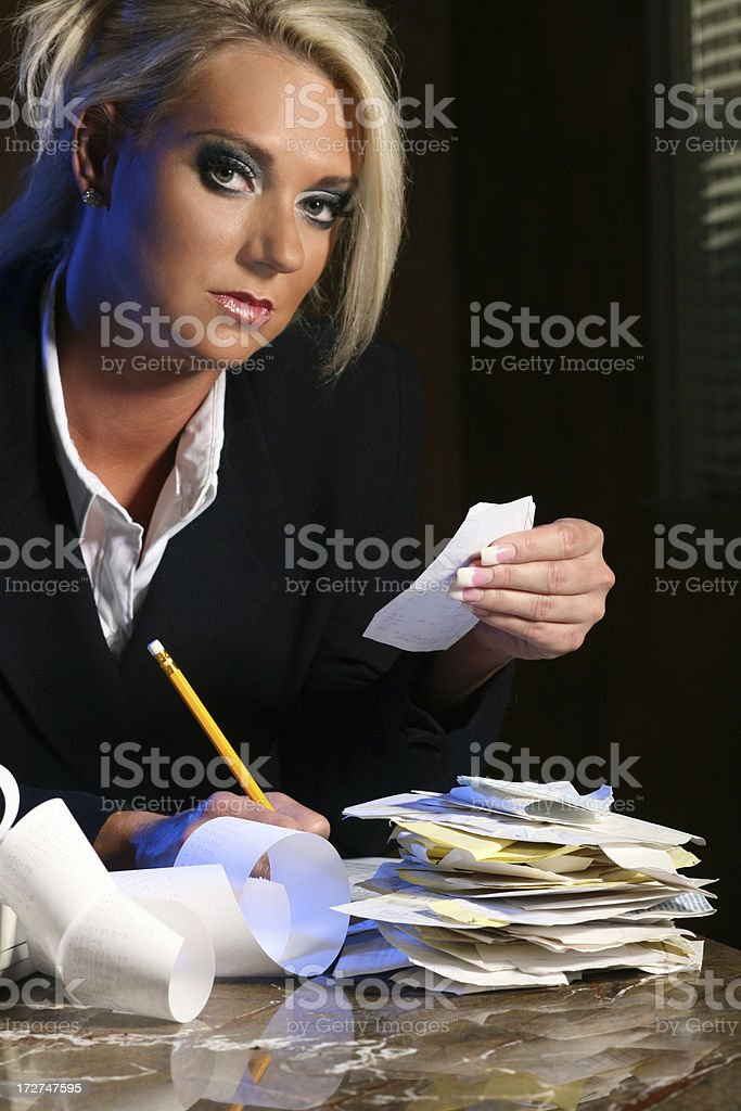 Financial Budgeting and Taxes in the Evening royalty-free stock photo