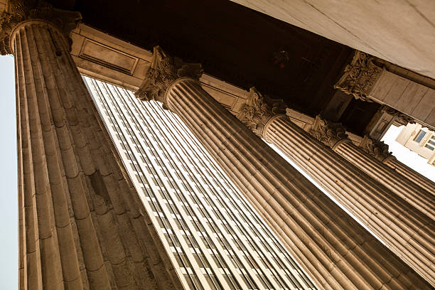 Financial building with classical columns stock photo