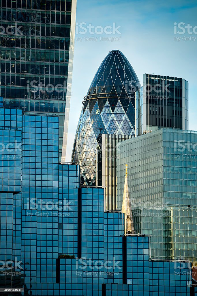 Financial buildings skyline at sunset royalty-free stock photo