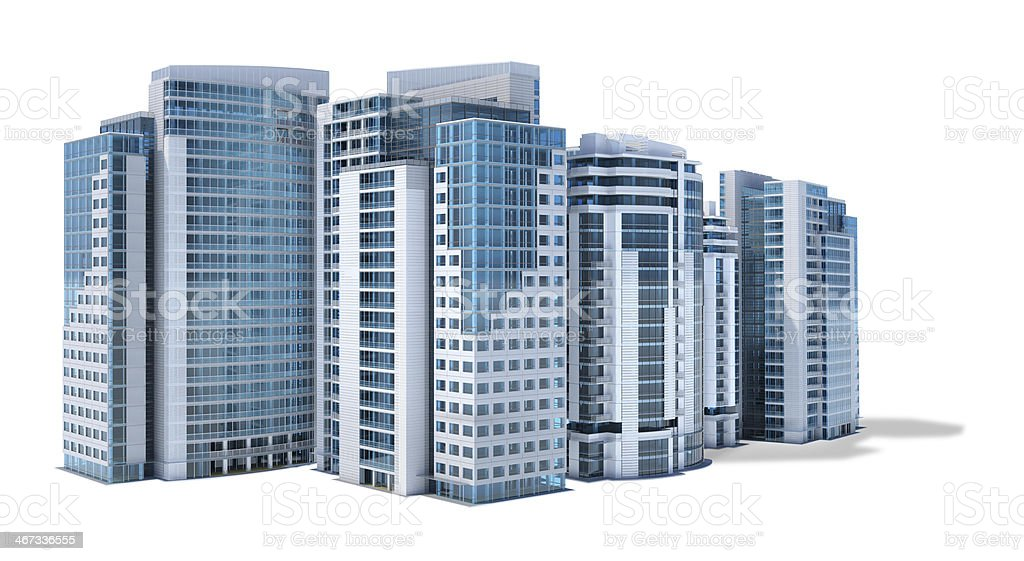 Financial business center with office buildings isolated on white background royalty-free stock photo