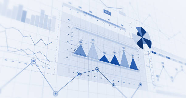 financial business charts, graphs and diagrams. 3d illustration render - data stock-fotos und bilder