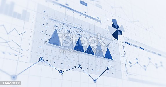 istock Financial Business Charts, Graphs And Diagrams. 3D Illustration Render 1144573937