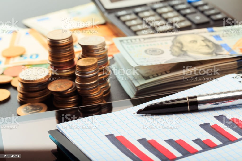 Financial business concept combination with coins, money, calculator...
