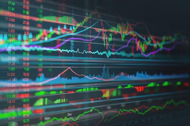 Finanzgeschäfte Börse Graph Chart Kerze Stick Bildschirm monitor – Foto