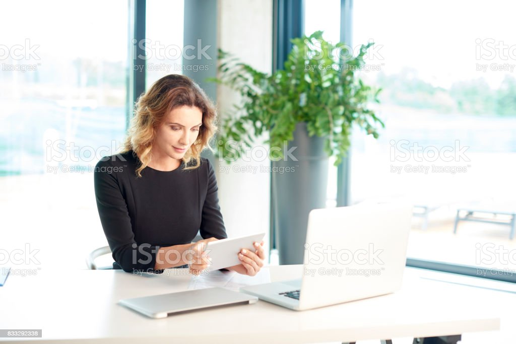 Financial businesswoman portrait stock photo