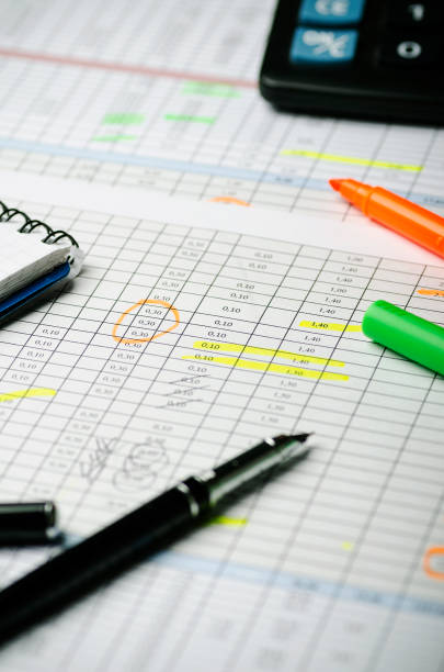 Financial calculations in a table on paper, pen, highlighter and calculator