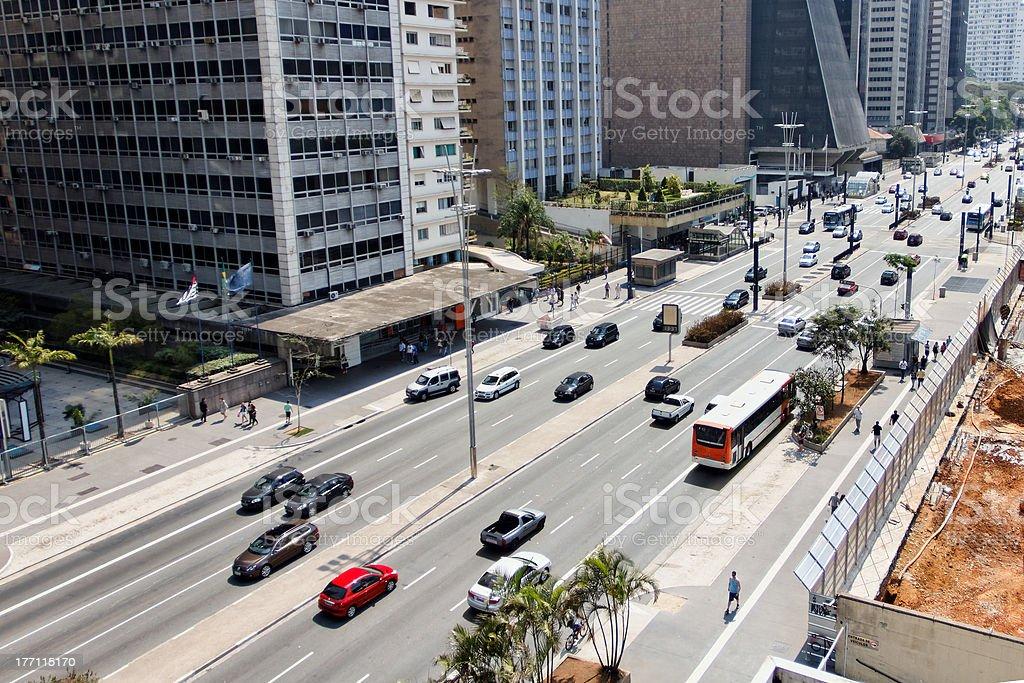 Financial center avenue in Sao Paulo - Brazil stock photo