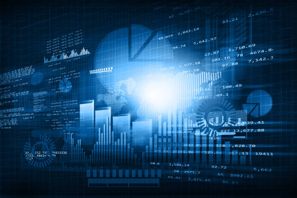 Financial chart and graphs stock photo