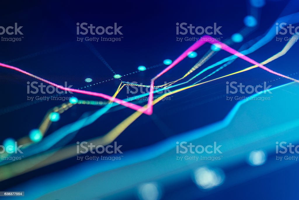 Financial chart at digital display - foto stock