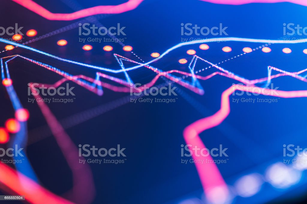 Financial chart at digital display stock photo