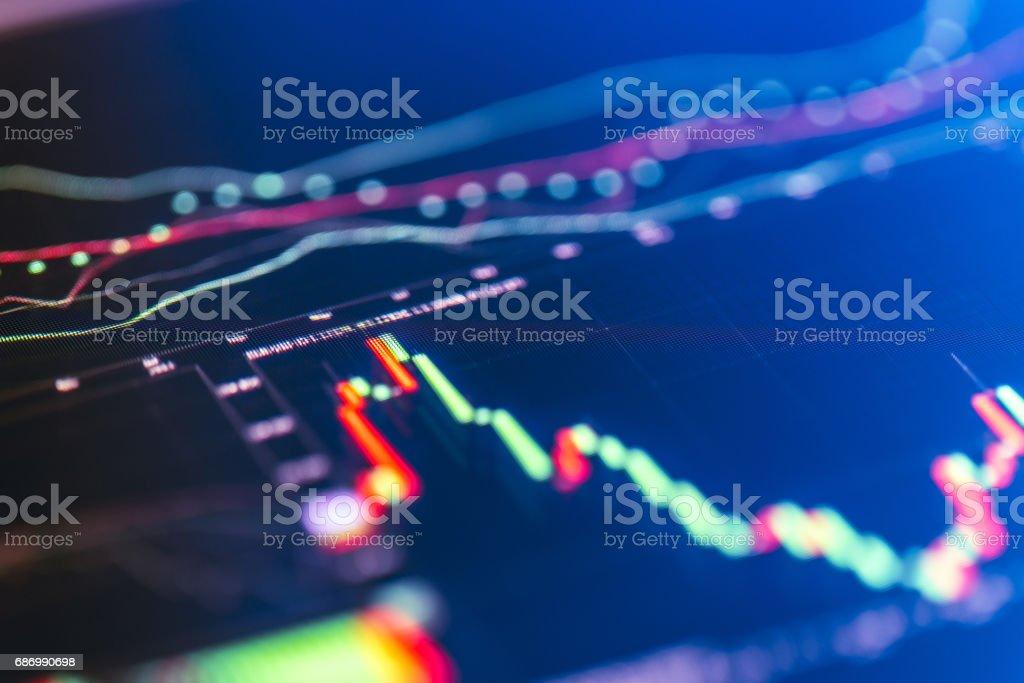Financial chart at digital display stock photo