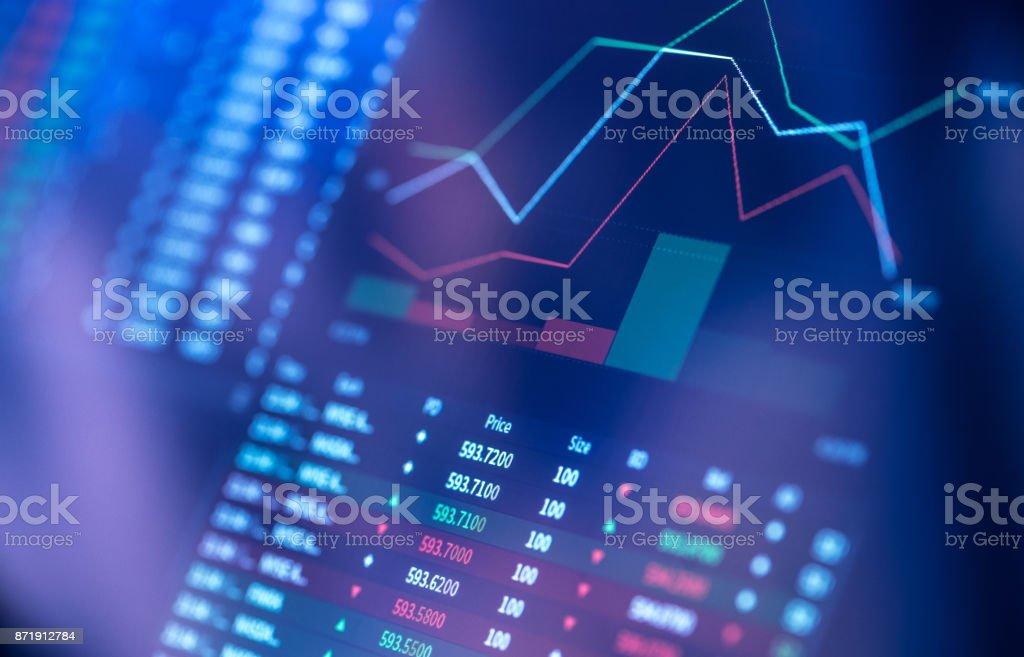Finanzielle Diagramm mit Digitalanzeige – Foto