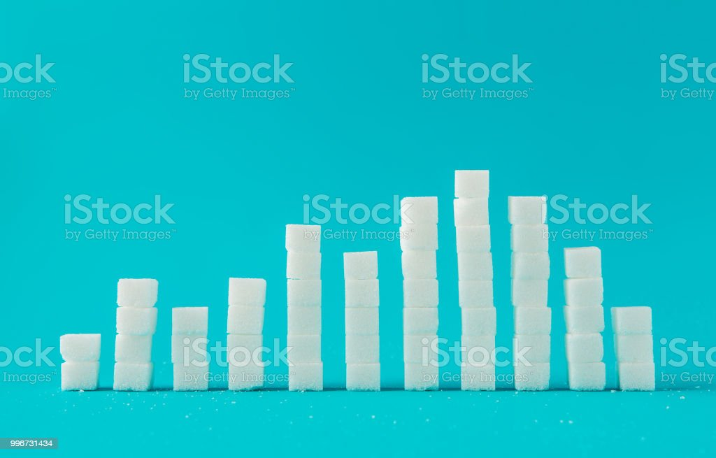 Financial chart made of sugar cubes with blue background. Sugar consumption growth rate world market concept. royalty-free stock photo