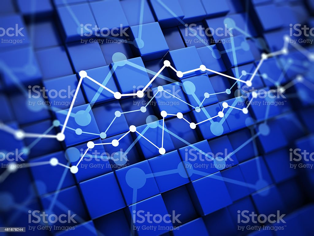 Financial chart on blue background stock photo