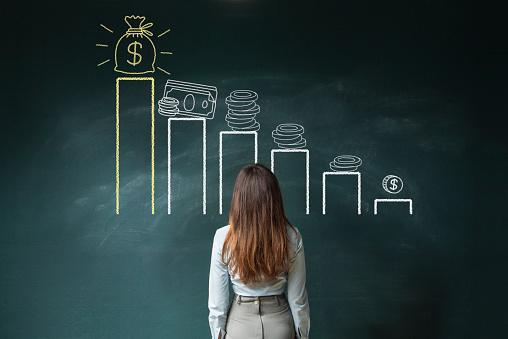 istock Financial chart on chalkboard 637693846