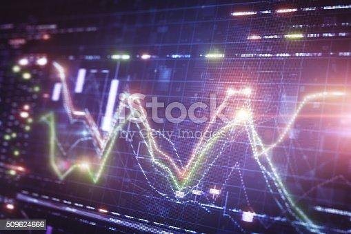 istock Financial chart on LCD display 509624666