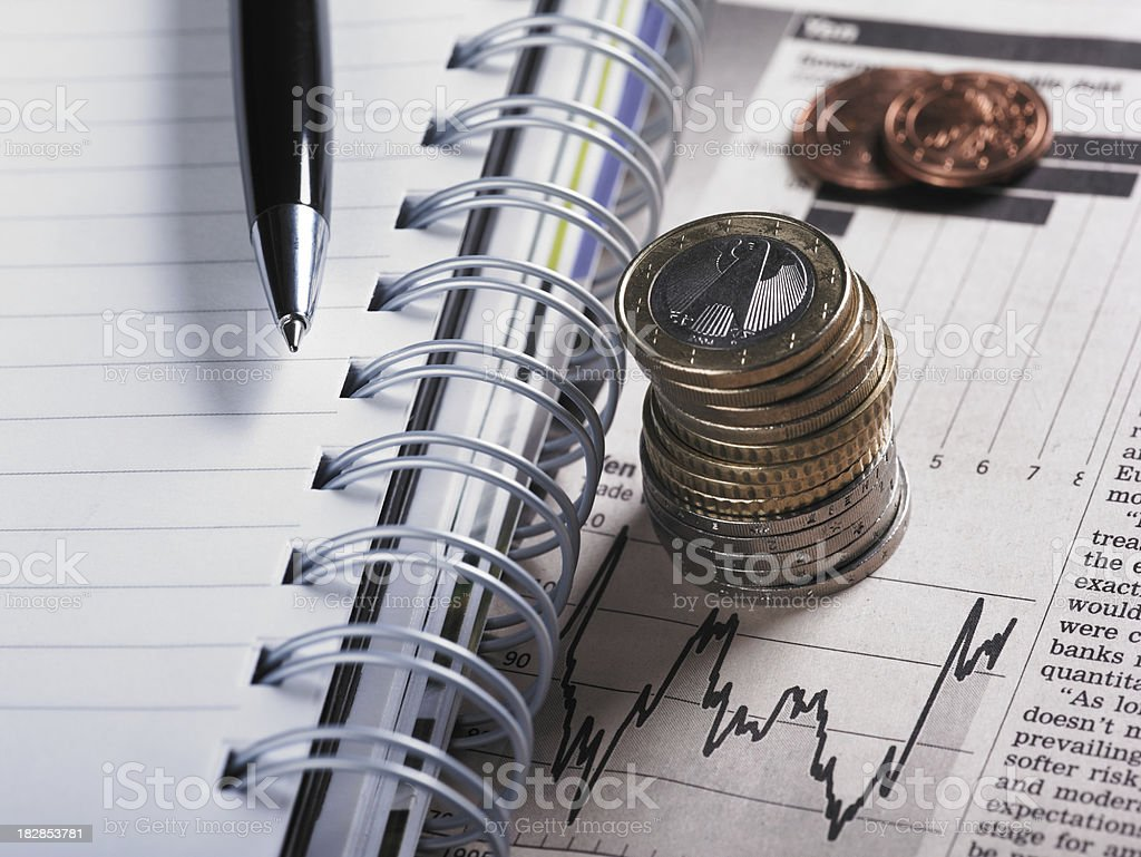 Financial Chart with Coins royalty-free stock photo