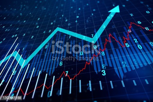 istock Financial chart with upward arrow. Growth and Progress Concept. 3D Rendering 1202641155