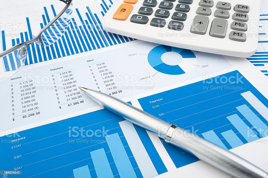 Financial charts and graphs stock photo
