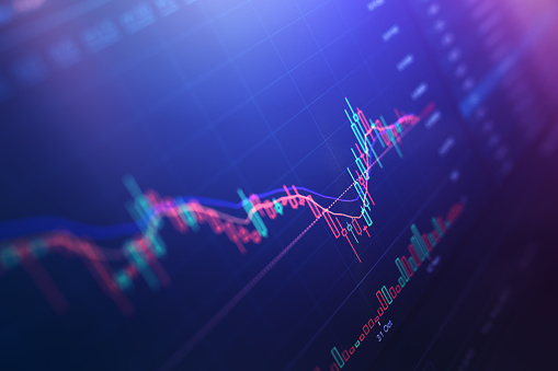 Financial charts at digital display