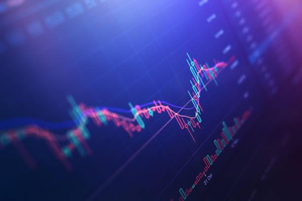 finanzdiagramme auf digitaler anzeige - börse stock-fotos und bilder