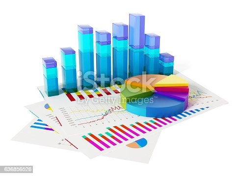 istock Financial charts, bars and pie chart isolated on white 636856526