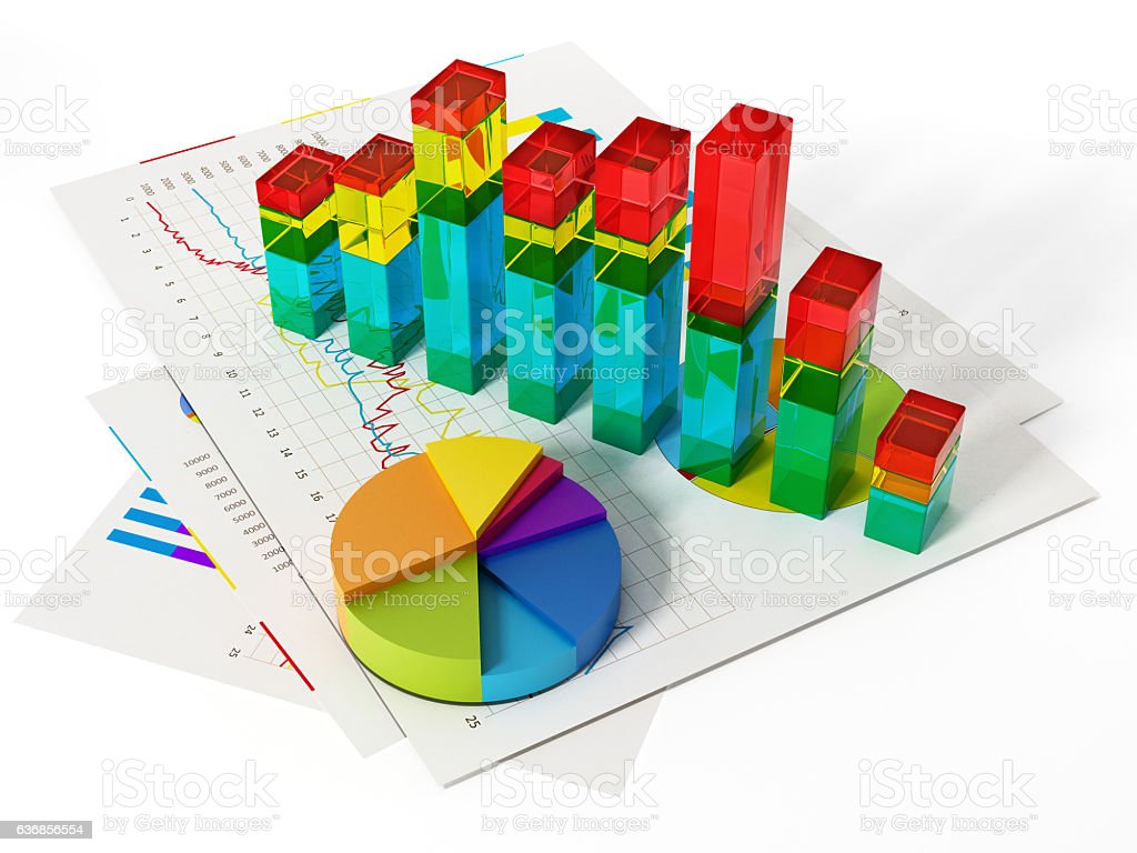 Financial charts, bars and pie chart isolated on white stock photo