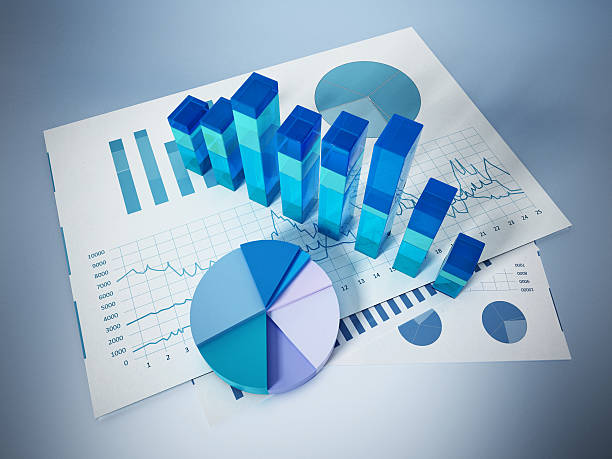 Financial charts, bars and pie chart isolated on white ストックフォト