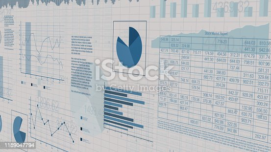 sheets with numbers and financial charts, concept of business, stock market (3d render)