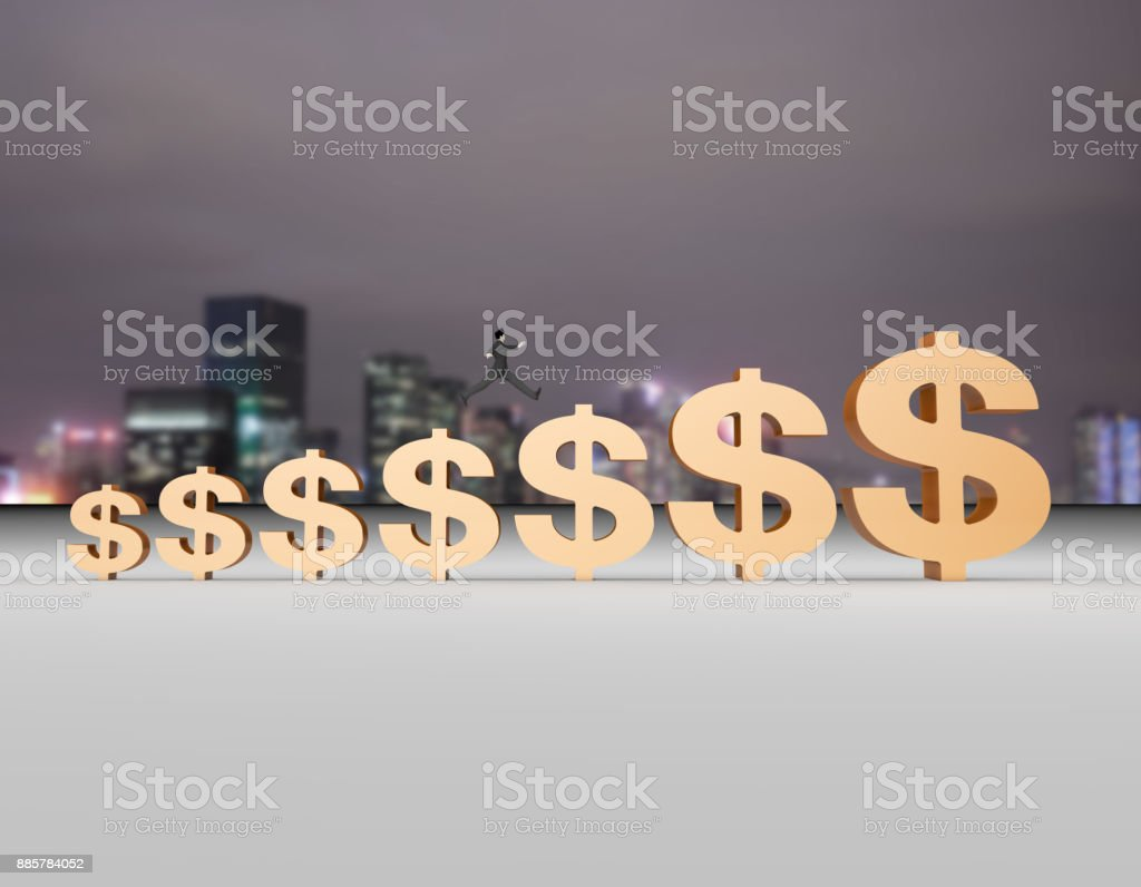 Financial city north background, people jumping, chasing money wealth stock photo