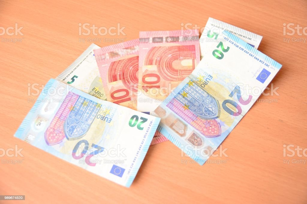 Financial concept, money small savings on desk stock photo