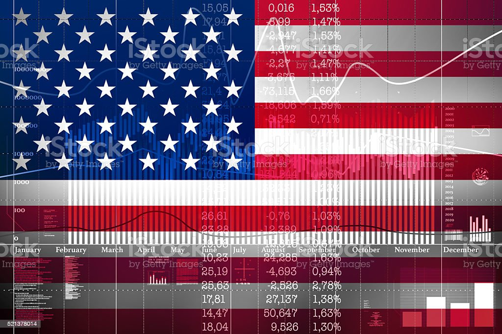 Financial concept of growth on the American Stock Exchange. stock photo