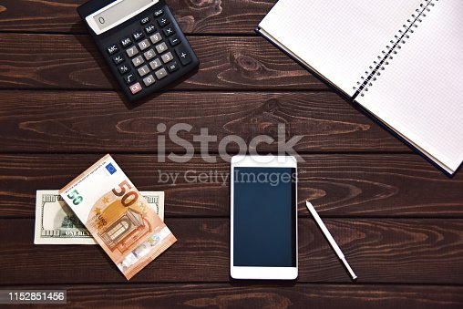 1060760900istockphoto financial concept, Tablet Pc, calculator, notepad on white background, planning personal income. Hand is typing on the calculator for money plan. 1152851456