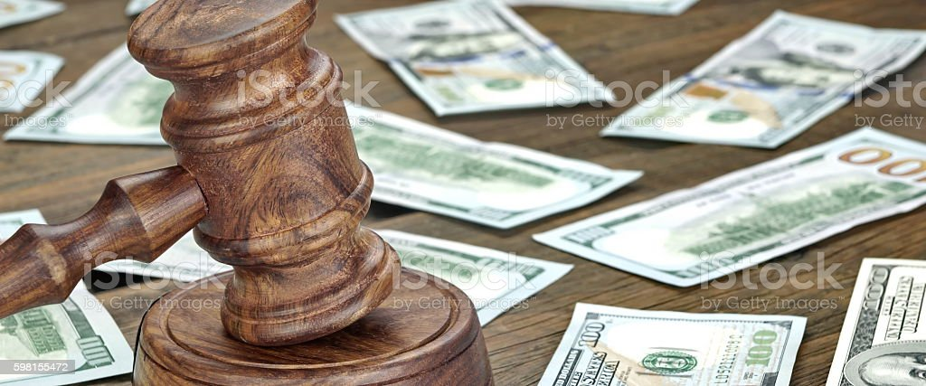 Financial Crime or Auction Concept With Gavel And Money Backgrou stock photo