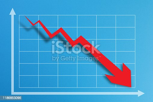618516848istockphoto Financial crisis chart on blue background 1186853095