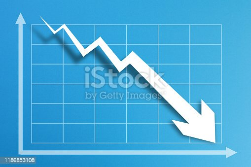 618516848istockphoto Financial crisis chart on blue background 1186853108