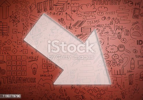 istock Financial crisis chart with arrow and empty space for text / Red background concept (Click for more) 1150779790