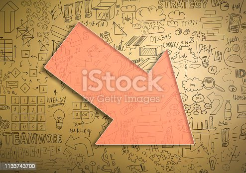istock Financial crisis chart with arrow and empty space for text / Yellow background concept (Click for more) 1133743700